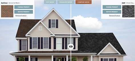 RoofVision roofing software for viewing roofing products on home